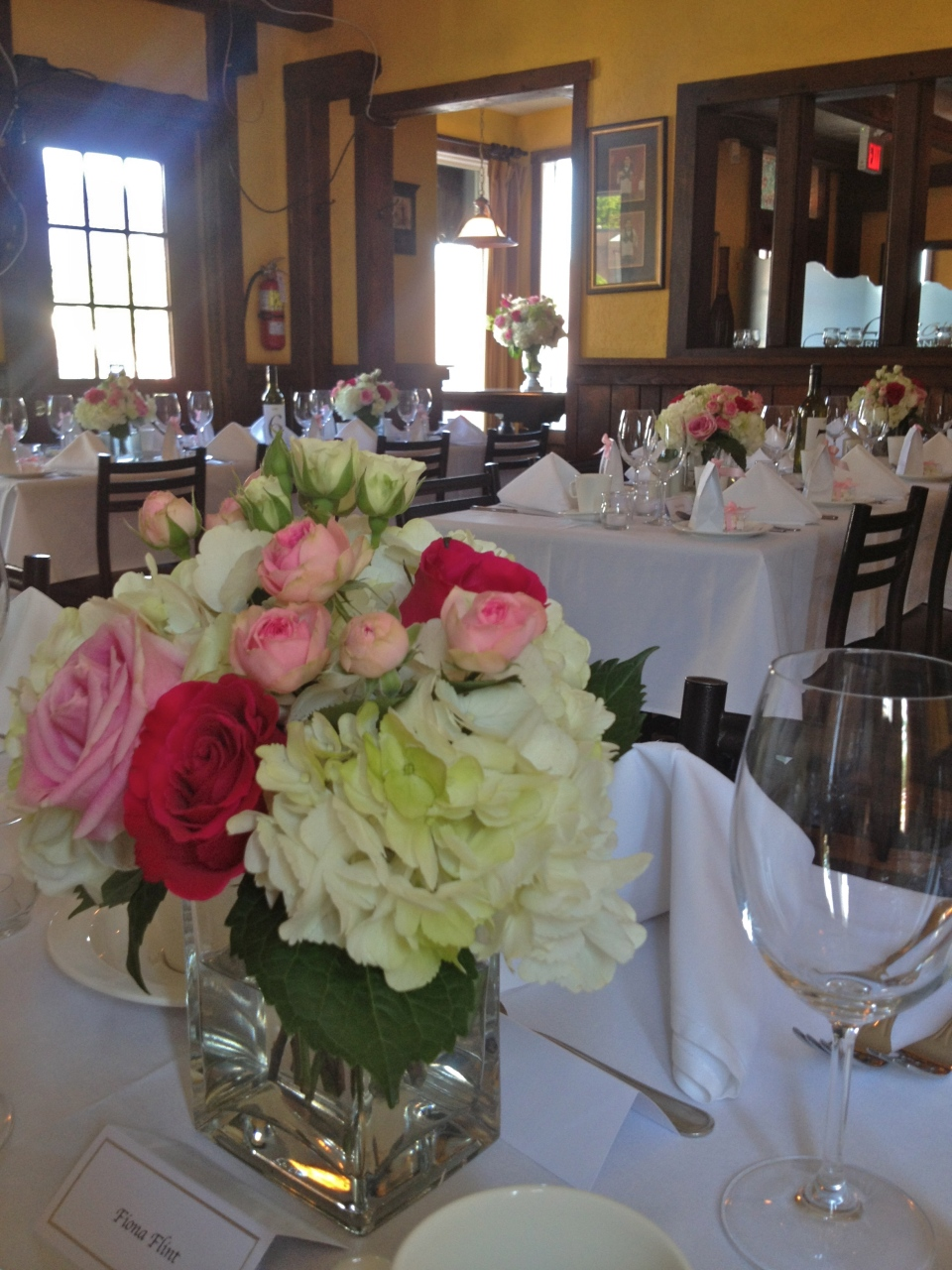Pink and Green Centerpieces of Hydrangea and Roses