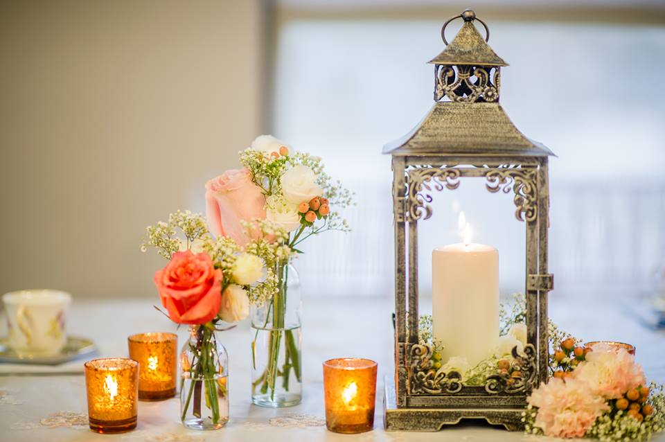 Lantern with Bud Vases - Baby Shower