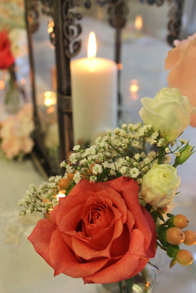 Bud Vases of Coral Roses, Berries and Baby's Breath