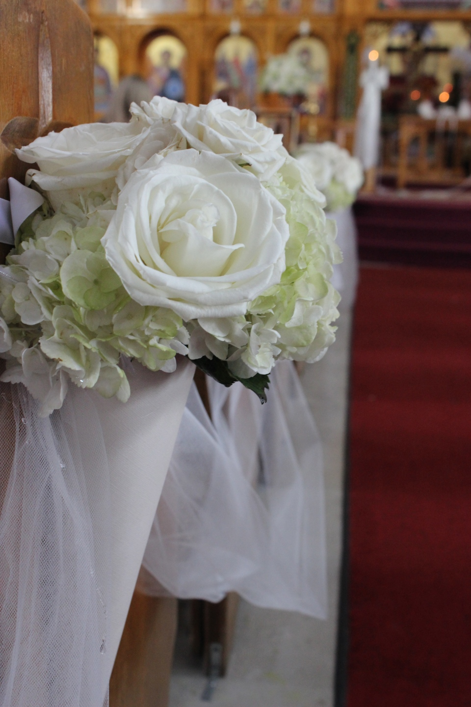 Soft Green and White Rose and Hydrangea Pew Markers