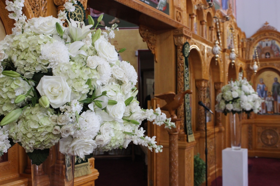 Soft Green and White Altar Arrangements
