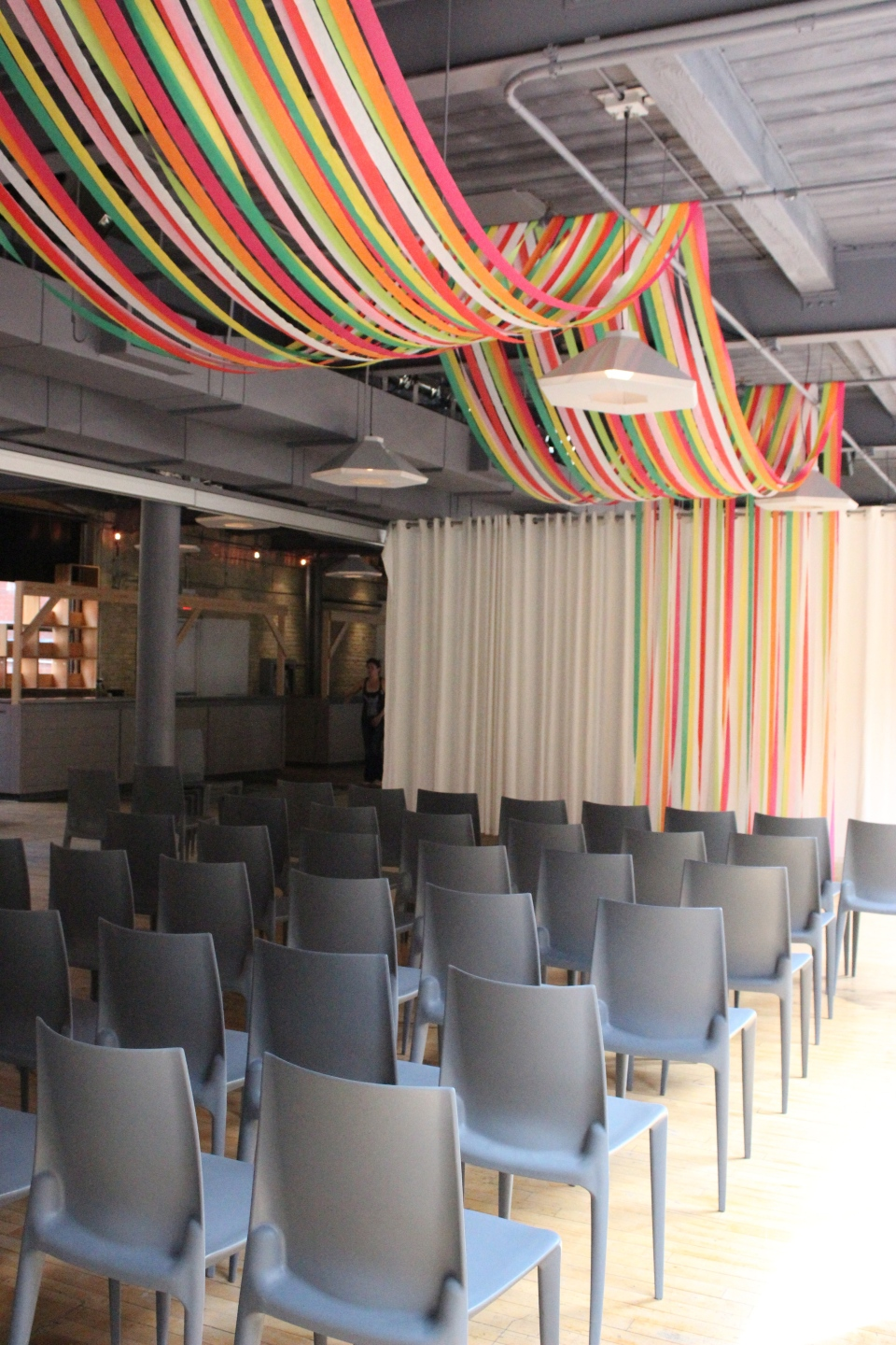 Colourful Crepe Paper Ceiling Drape at 2nd Floor Events