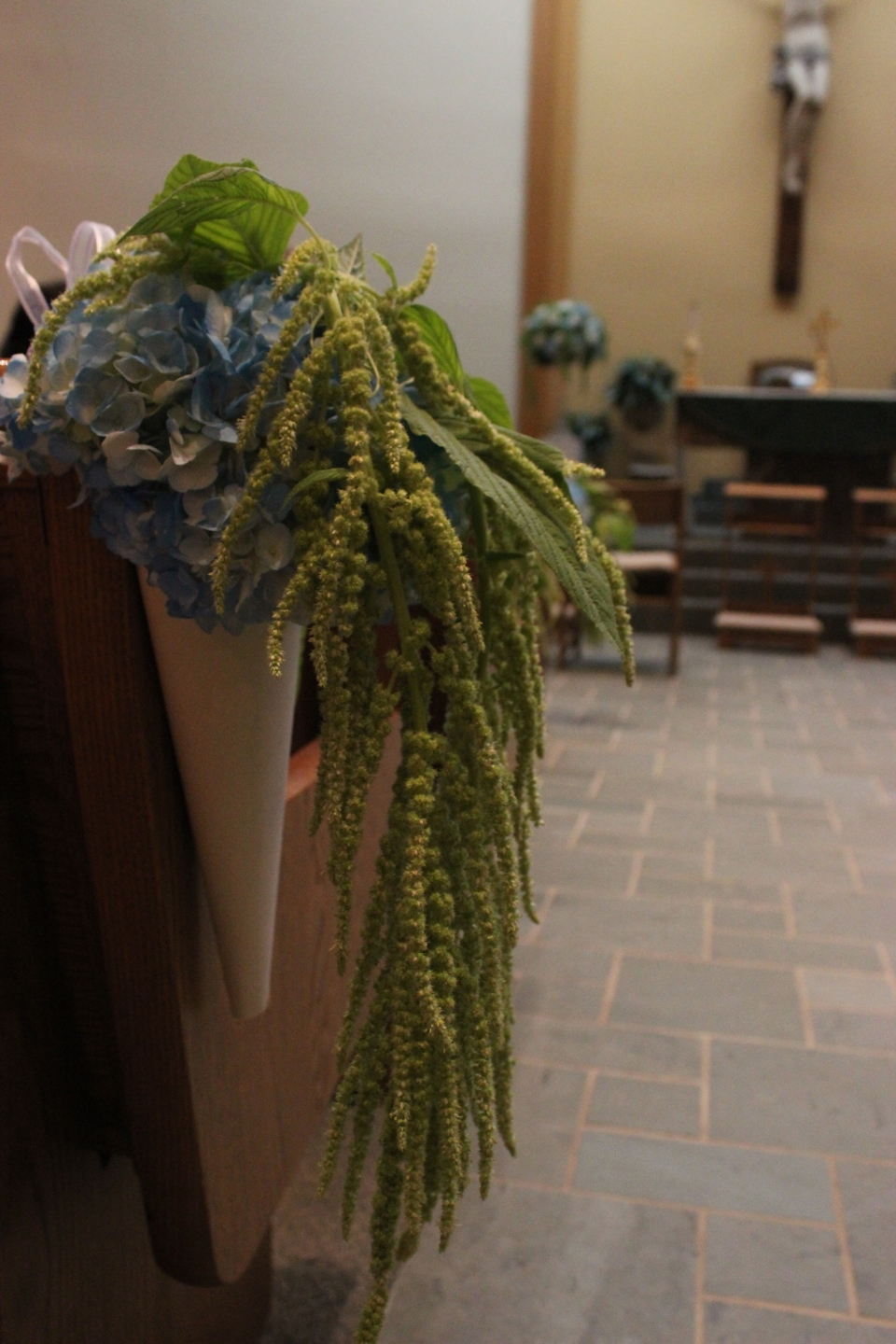 Pew Marker of Hydrangea and Hanging Amaranthus