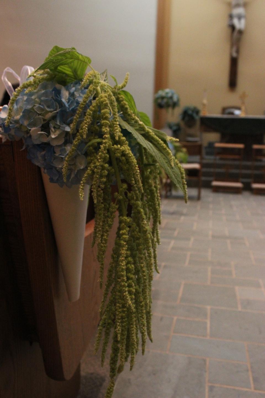 Pew Marker of Hydrangea and Hanging Amaranthus