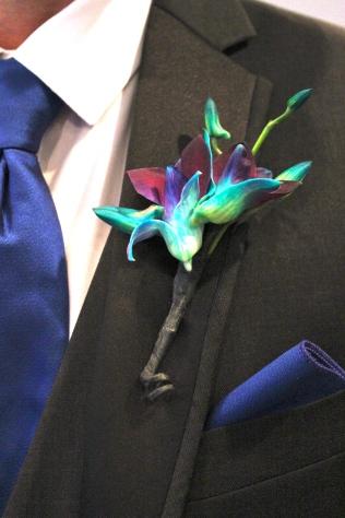 Blue Dendrobium Orchid Boutonniere