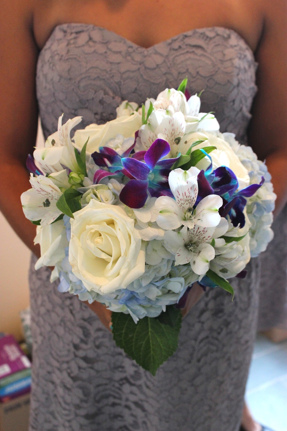 Bouquet of orchids, roses, alstromeria and hydrangea