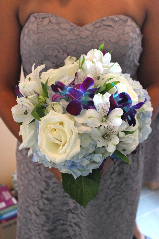Bouquet of orchids, roses, alstromeria and hydrangea