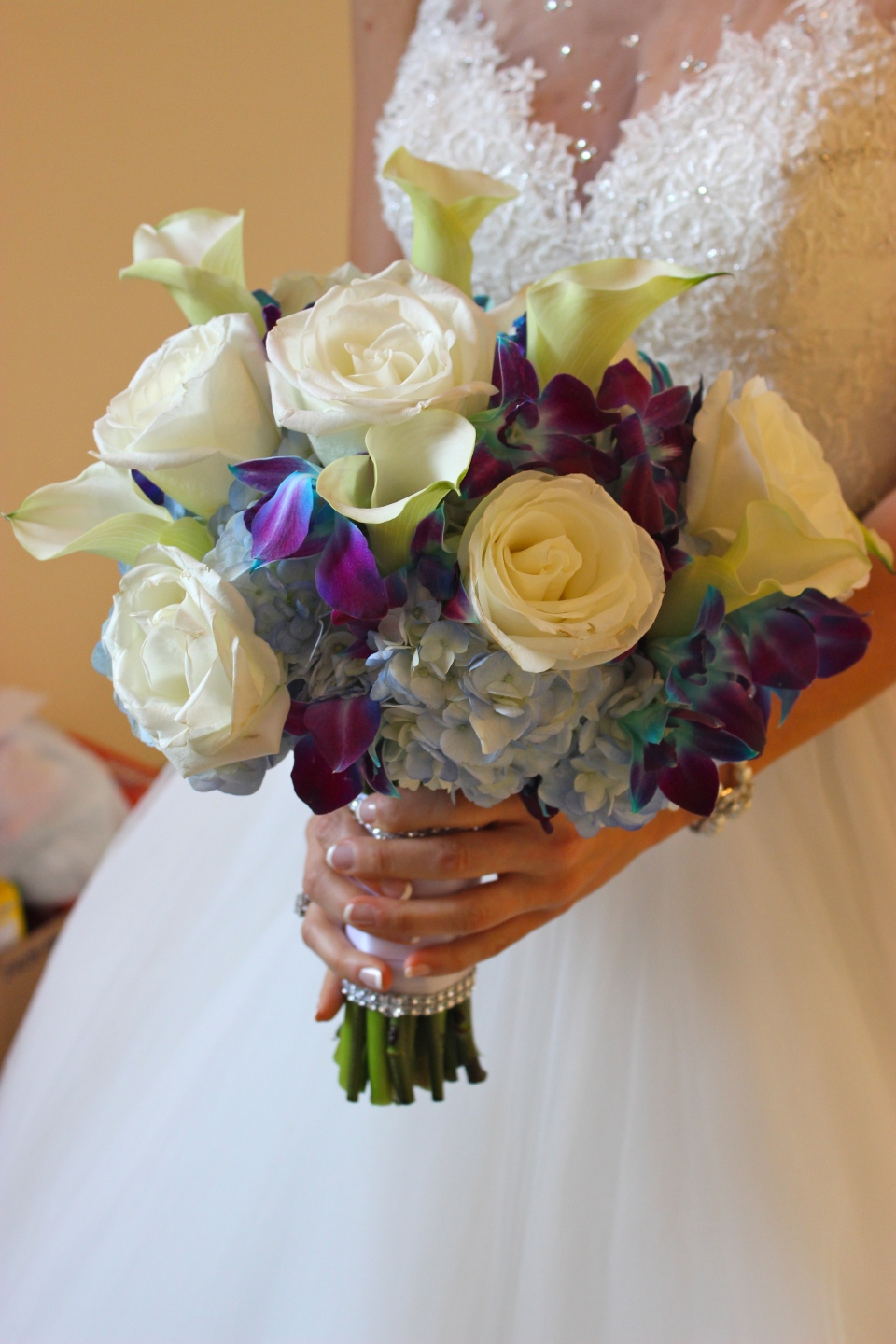 Blue and White Bridal Bouquet with Orchids, Roses and Calla Lilies