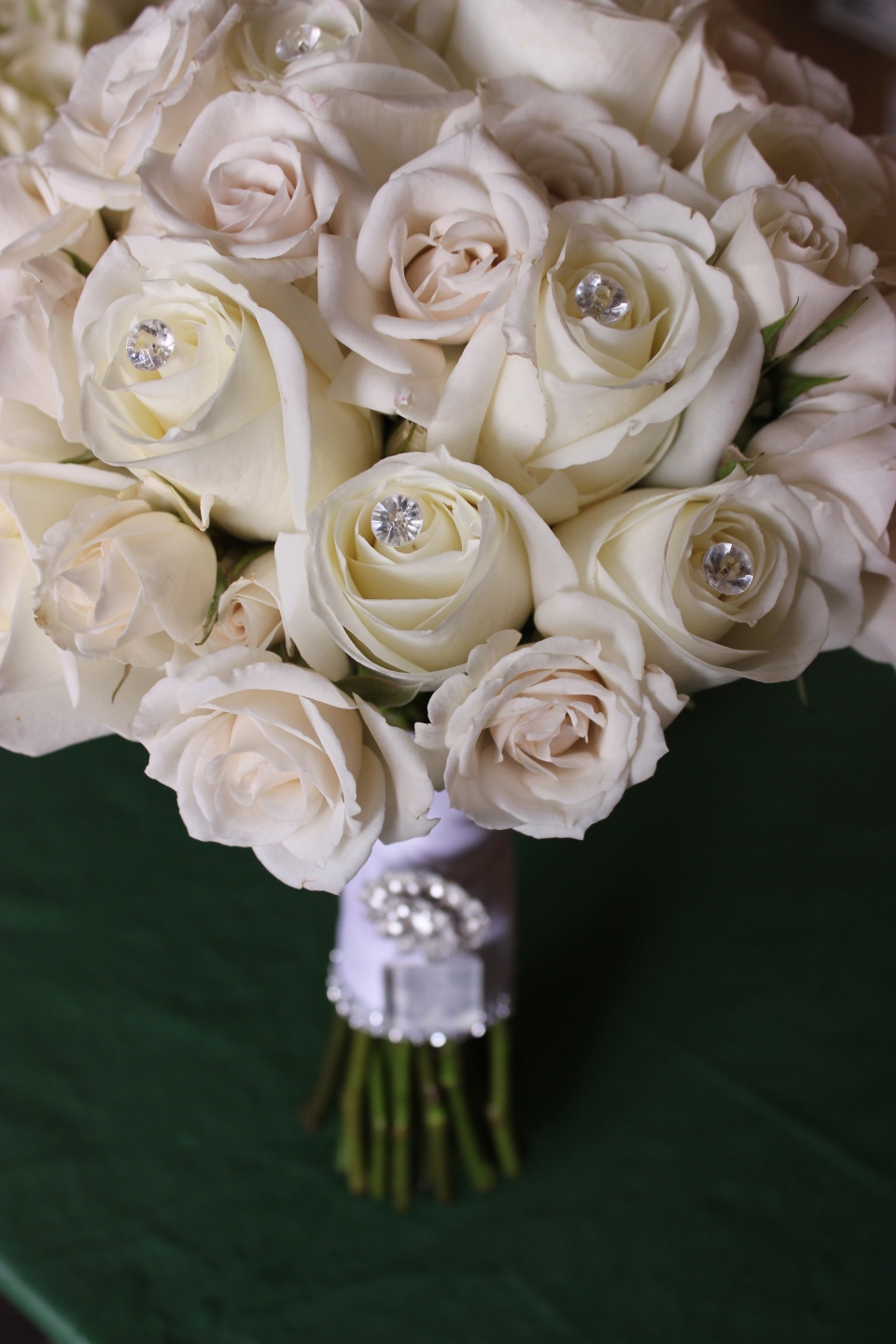 White rose bouquet with crystals