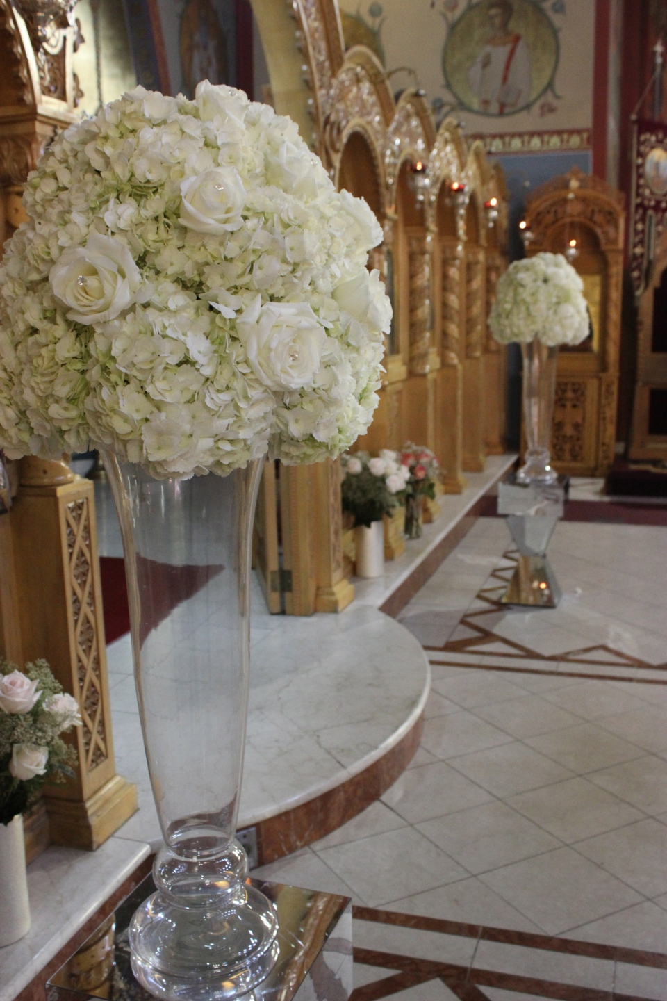 White hydrangea and rose altar pieces