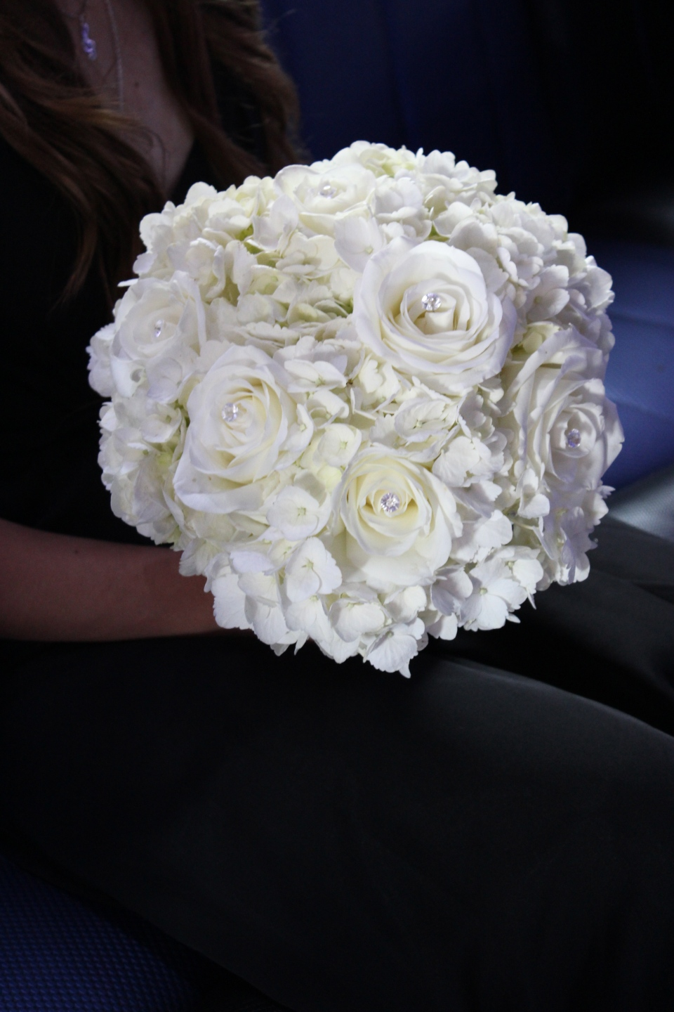 White hydrangea and rose bouquet