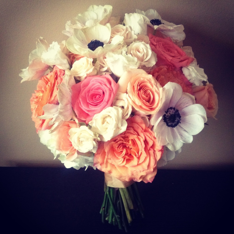 Coral, Peach and Ivory Bouquet of Roses and Anemones
