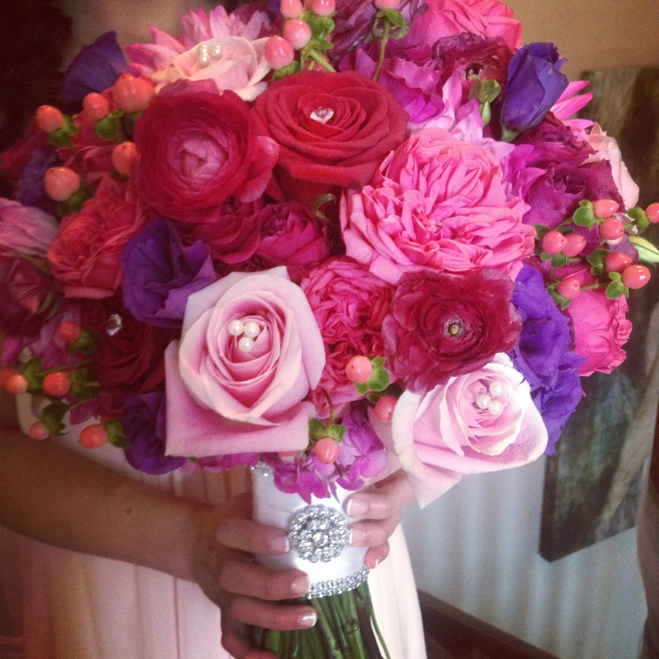 Pink, Red and Purple Bouquet with Garden Roses, Ranunculus, Lisianthus and Berries