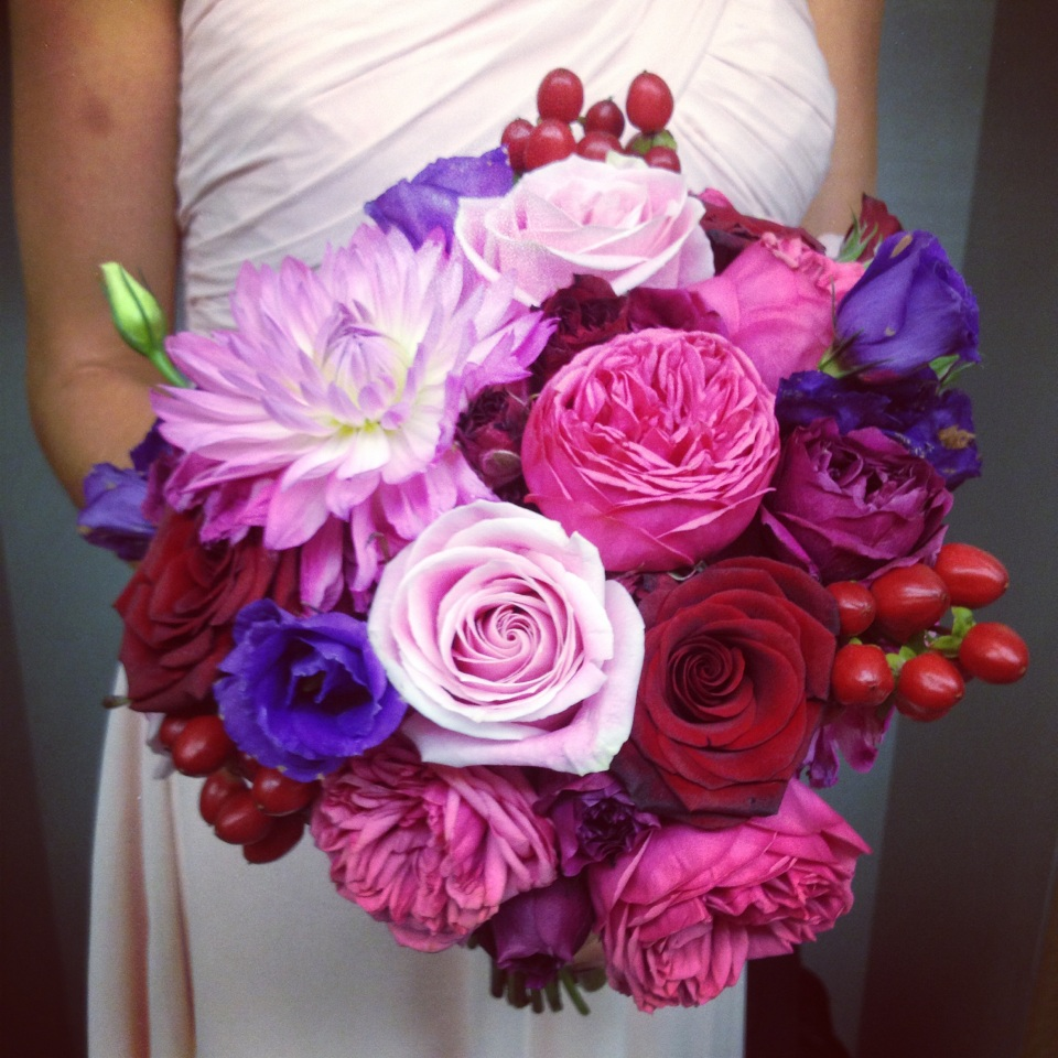 Pink, Red and Purple Bridemaid Bouquet with Dahlia's and Garden Roses