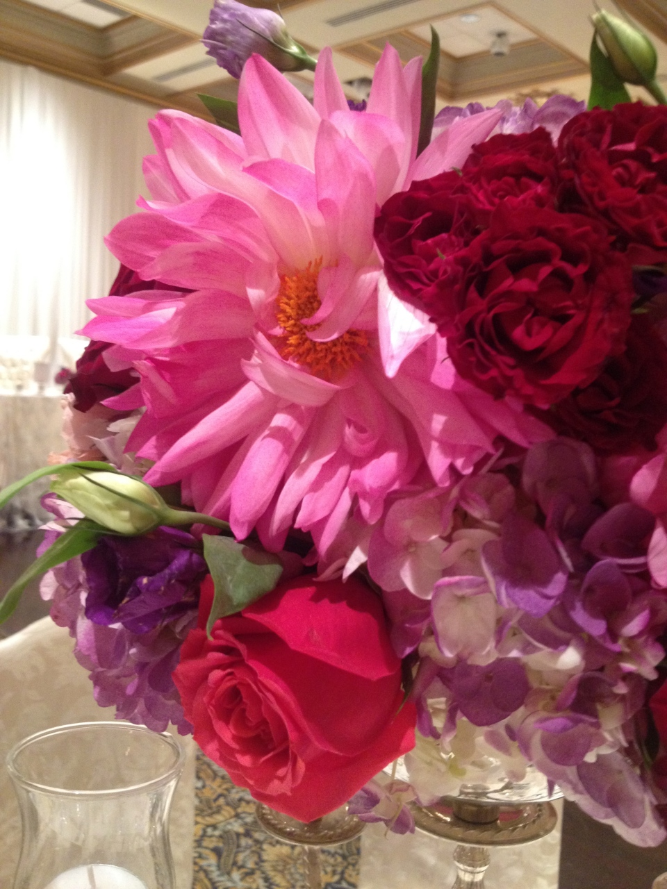 Centerpiece detail - Dahlia's, Roses and Lisianthus in Berry Tones