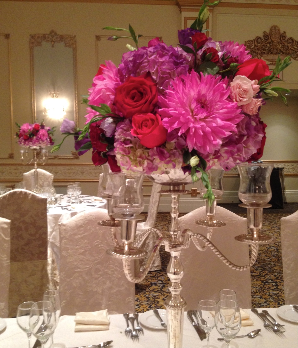 Berry Toned Candelabra Centerpiece with Dahlia's