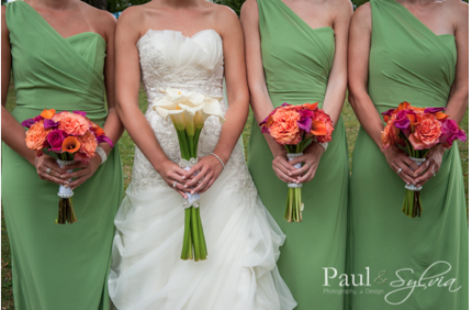 Coral and Magenta Bridesmaids Bouquets