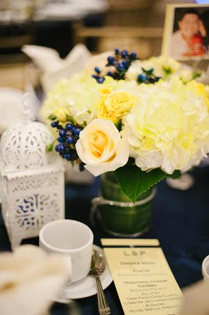 Yellow centerpiece- hydrangea and roses