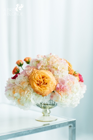 Hydrangea and Garden Rose Low Centerpiece