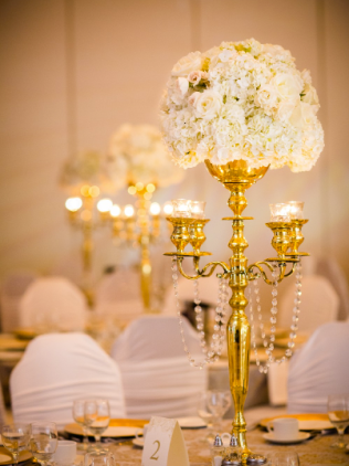 White Hydrangea and Rose Centerpiece with Gold Candelabra