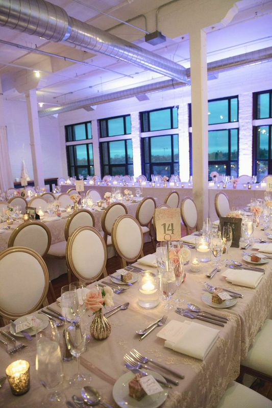 Blush and Gold Wedding Reception at Buroughes Building