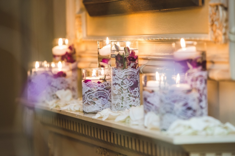 Lace Wrapped Floating Candles with Submerged Purple Orchids