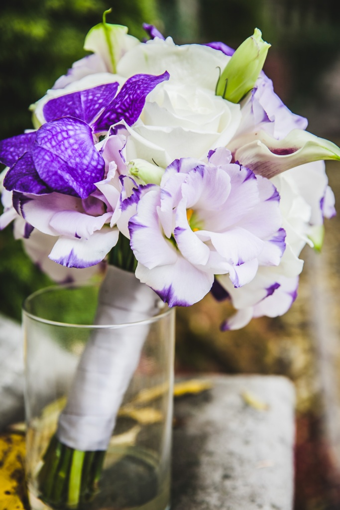 Purple and White Bouquet - Orchids Calla Lilies Lisianthus