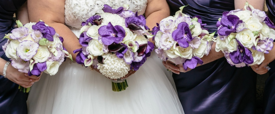 Purple and White Bouquets with Vanda Orchids