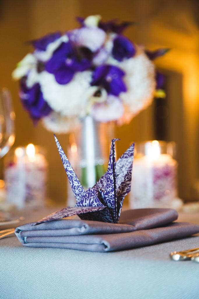 Purple Bouquet with Origami Crane