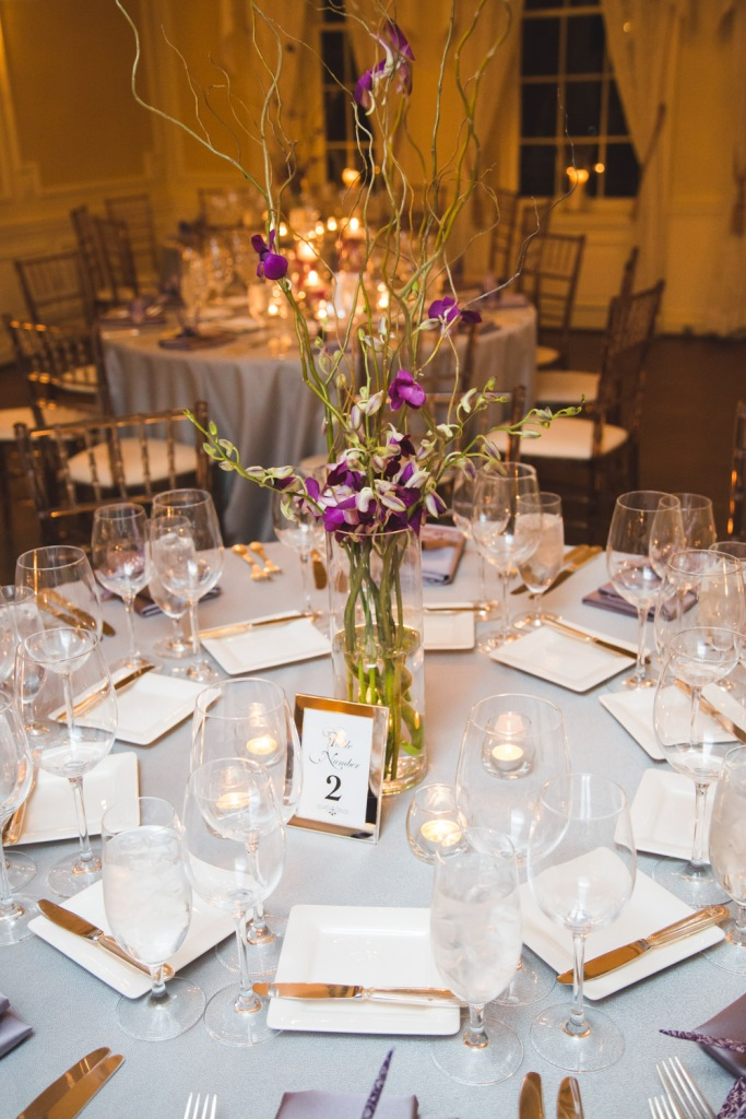 Purple Orchid and Curly Willow Centerpiece - Graydon Hall