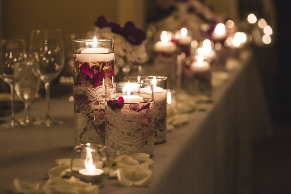 Submerged Purple Orchids with Lace and Floating Candles
