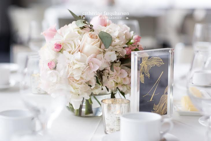 Blush Hydrangea and Rose Low Centerpiece - Malaparte Toronto