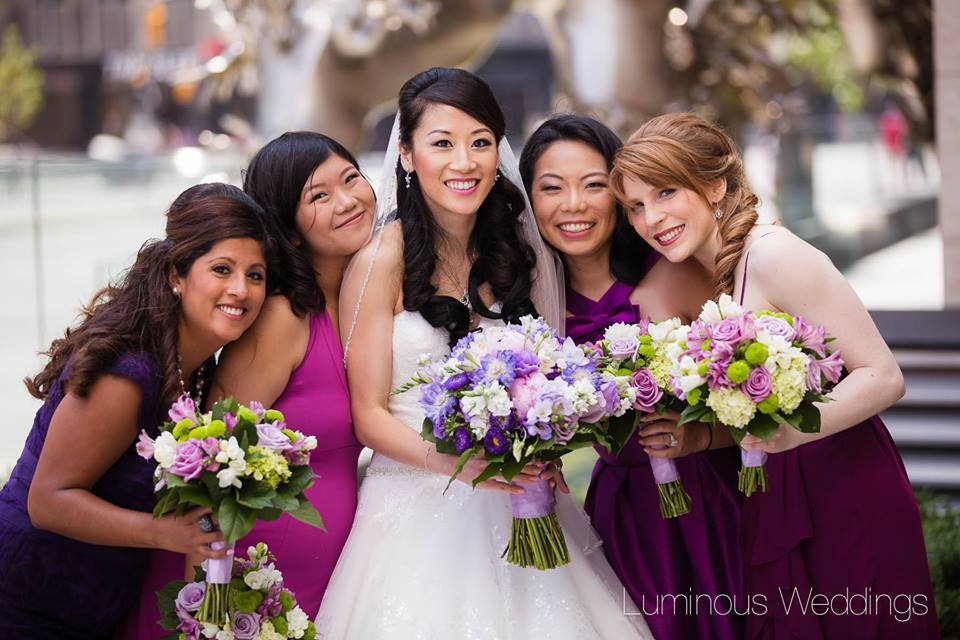 Lavender and Green Bridal Party Bouquets