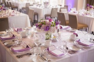 Low Lavender and Green Centerpiece - Arcadian Loft