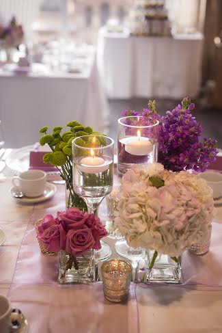 Cluster Centerpiece of Lavender and Green Flowers - Arcadian Loft