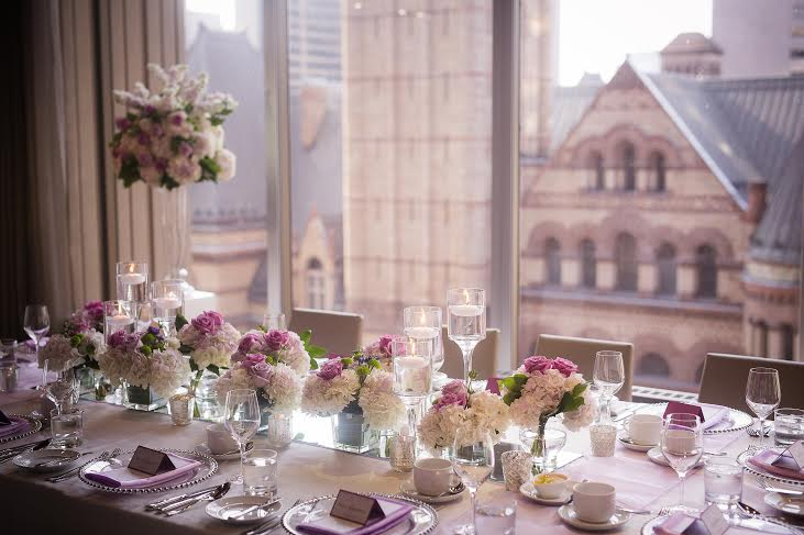 Lavender Head Table Flowers - Arcadian Loft