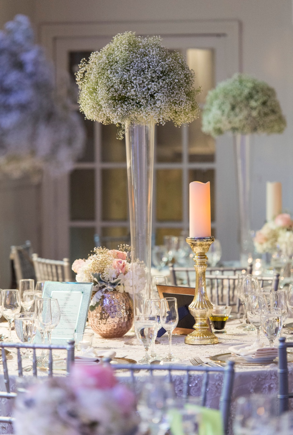 Baby's Breath Vintage Centerpieces - Berkeley Church