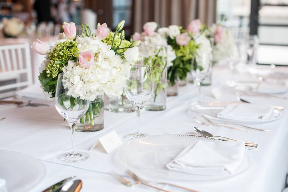 Blush, green and white spring centerpieces