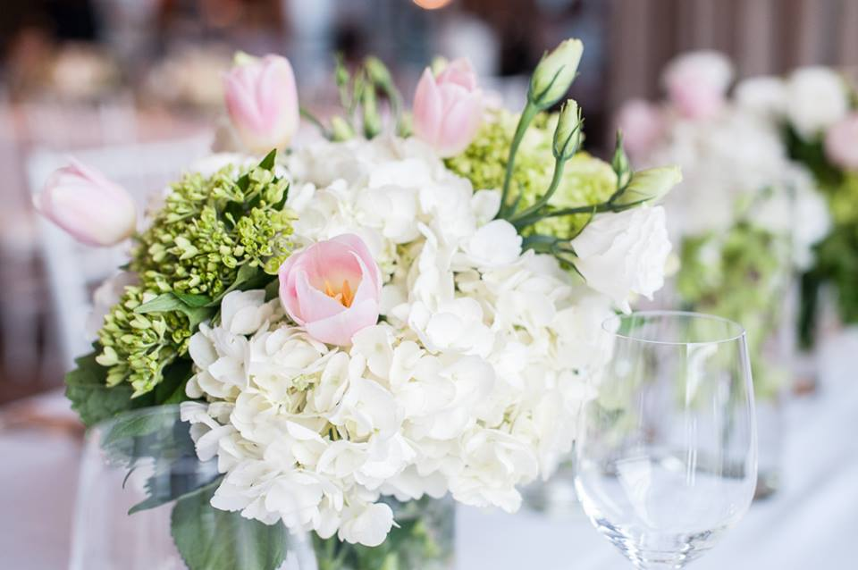 Green and White Centerpiece with Blush Tulips