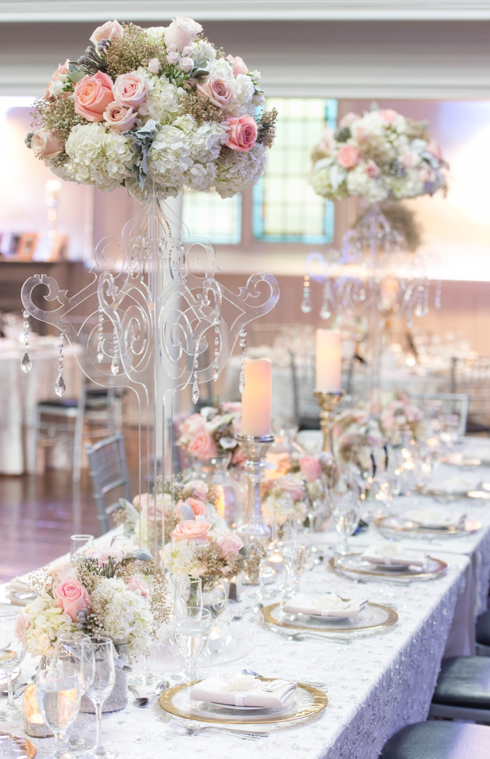 Head Table Candelabra's with Vintage Flowers - Berkeley Church