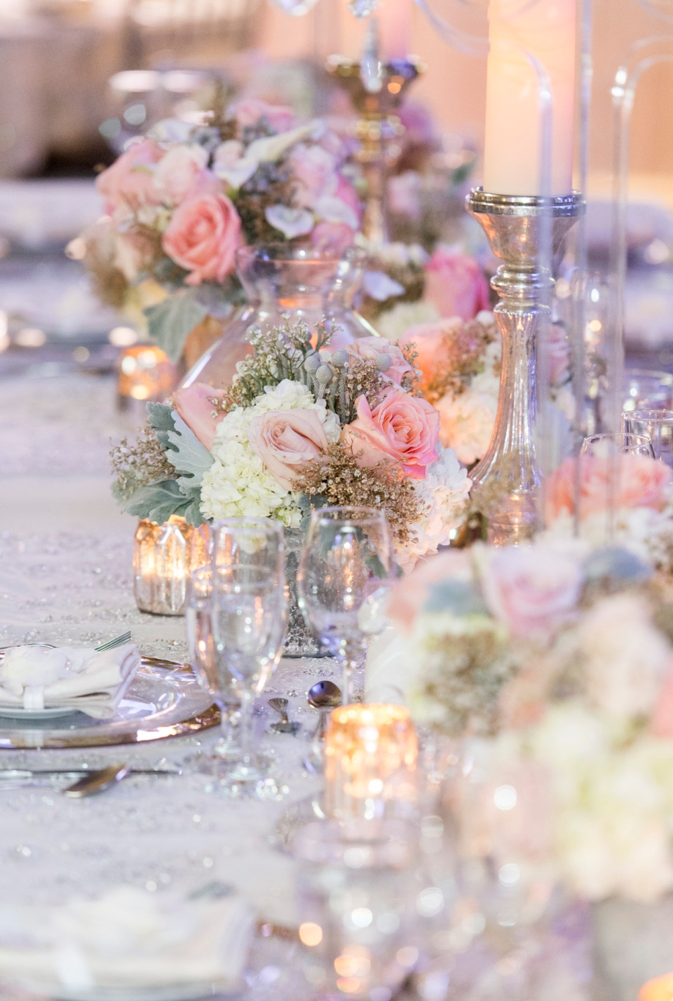 Peach, Grey and Gold Head Table Flowers - Berkeley Church