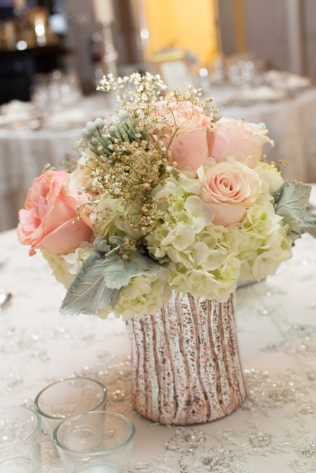 Peach, Grey and Gold Vintage Centerpiece - Berkeley Church