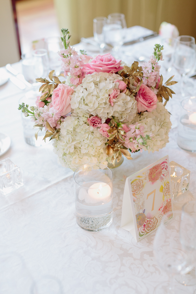 Pink and Gold Centerpiece at Rosewater Room