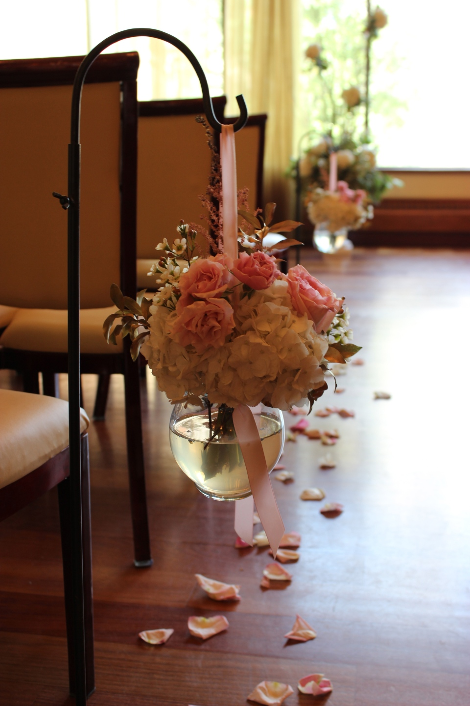 Pink and Gold Shepherd's Hook Flowers at Rosewater Room
