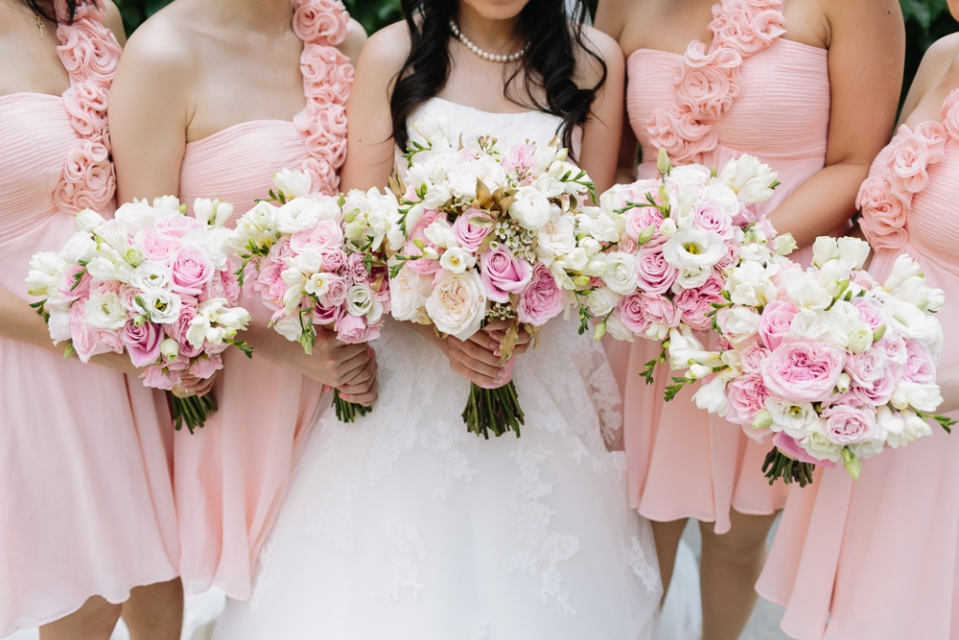 Pink, Ivory and Gold Bouquets