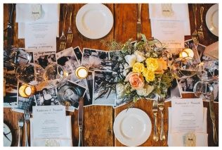 Rustic Centerpieces with Photo Runners