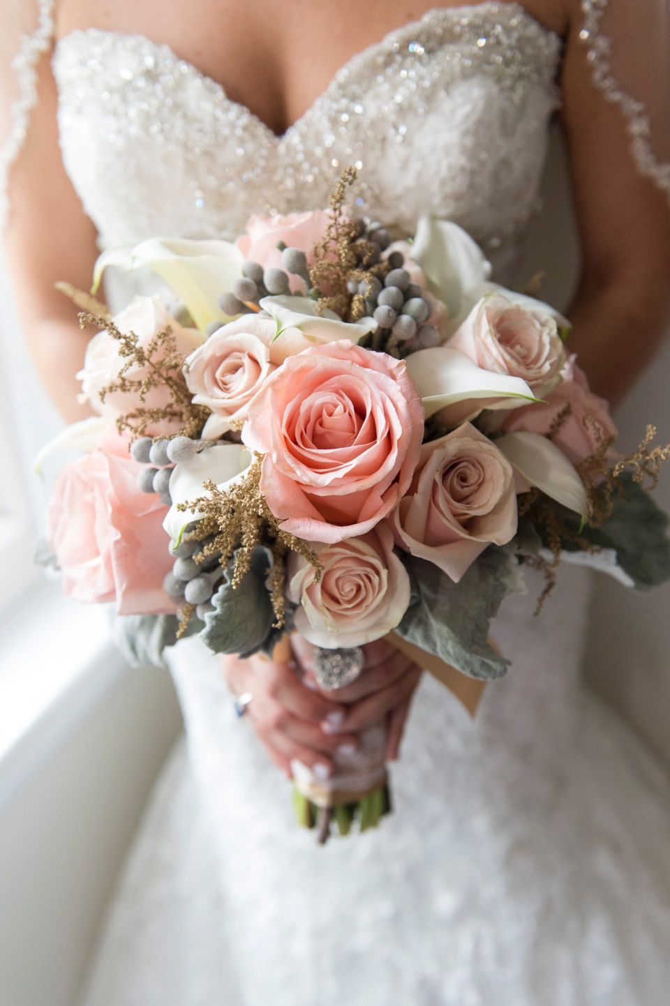 Soft Peach, Blush and Gold Bridal Bouquet