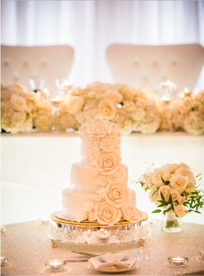 White Cake with Rose Cascade