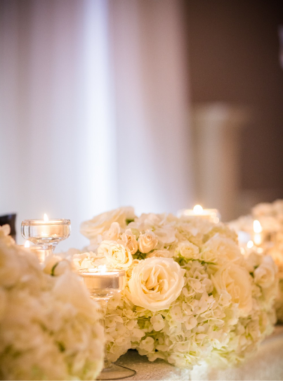 White Hydrangea and Rose Floral Garland Detail