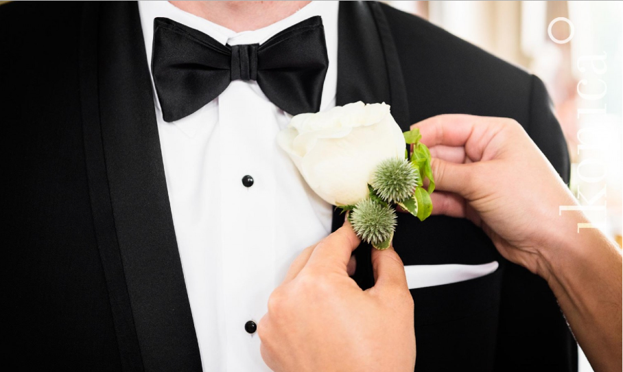 White Rose and Thistle Boutonniere